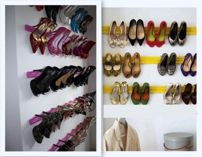 Creative Yellow And Pink DIY Shoe Organizer