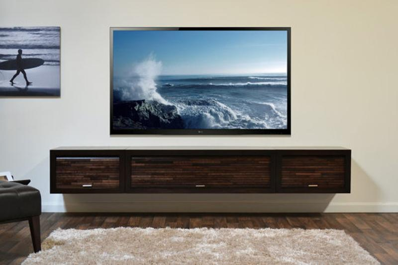 Incroyable Dark Wood Floating Media Cabinet