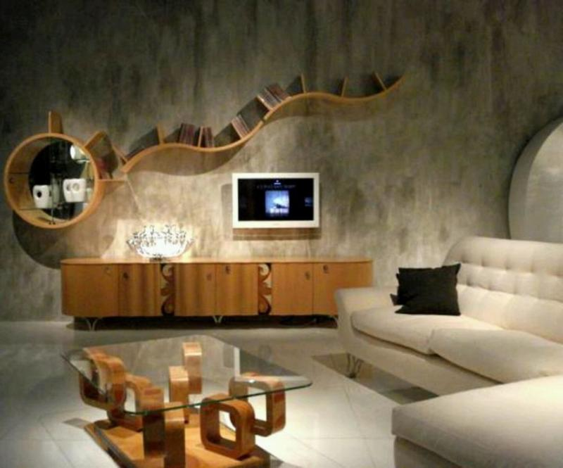 distinctive living room with concrete wall - New Home Design Ideas