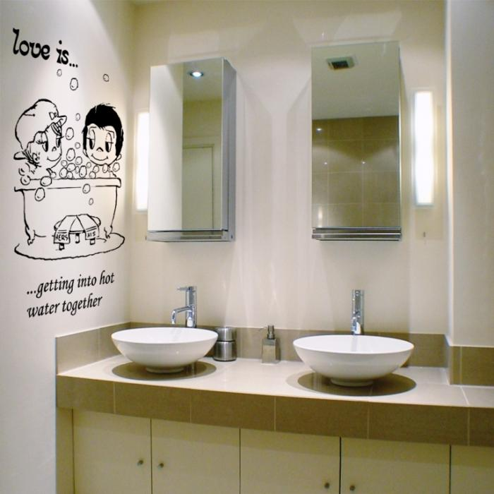 15 decorative and interesting bathroom wall stickers - rilane