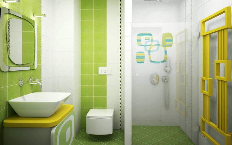 15 bold bathroom designs with unusual color scheme rilane for Yellow and green bathroom ideas