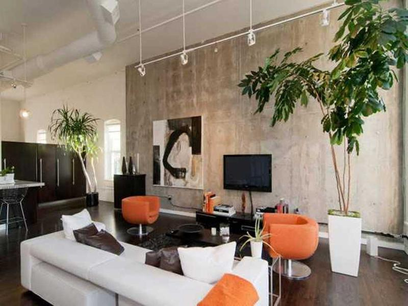Lush Living Room With Concrete Walls Part 79