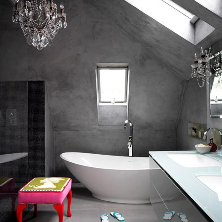luxury bathroom with concrete walls - Concrete Walls Design