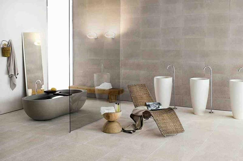 Minimalist Bathroom With Stone Bathtub