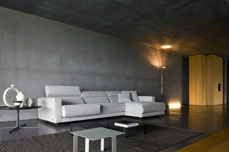 minimalist living room with concrete wall - Concrete Walls Design