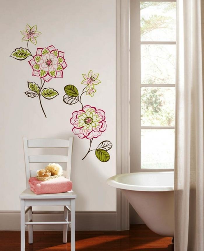 Minimalist White Bathroom With Flowers Wall Art