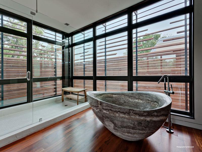 20 Amazing Bathroom Designs with Natural Stone Bathtub - Rilane