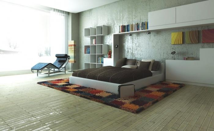 Modern Bedroom Design With Unusual Wall Shelves