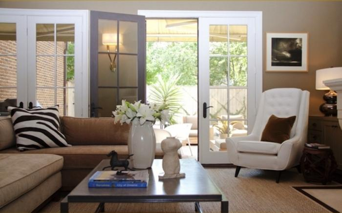 Modern Chic Living Room With French Doors