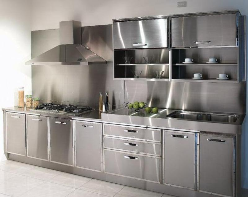 Modern Kitchen with Stainless Steel Cabinets
