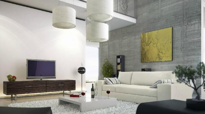 captivating living room tv wall design | 25 Captivating Living Room Designs With Concrete Wall - Rilane