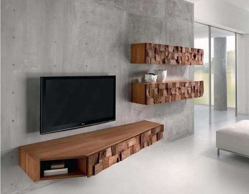 10 modern floating media cabinet for the living room rilane for Floating tv stand living room furniture