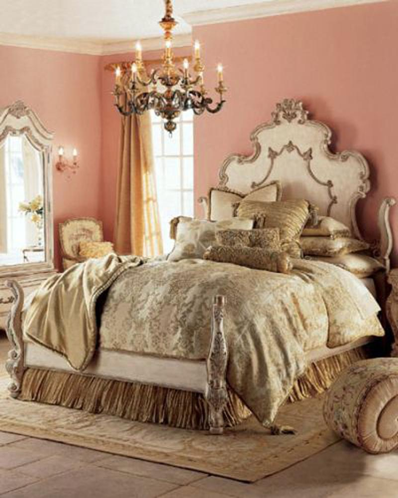 opulent coral peach bedroom