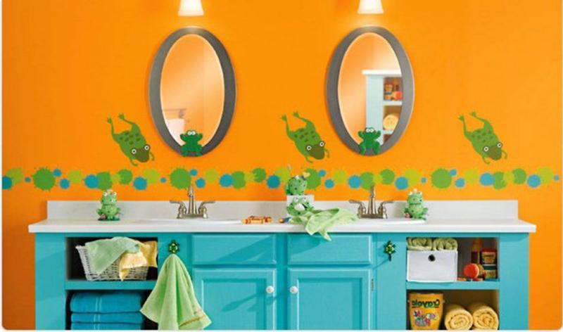 Orange and Blue Bathroom