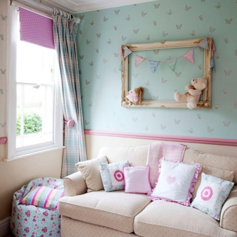Pastel Blue Butterfly Themed Bedroom