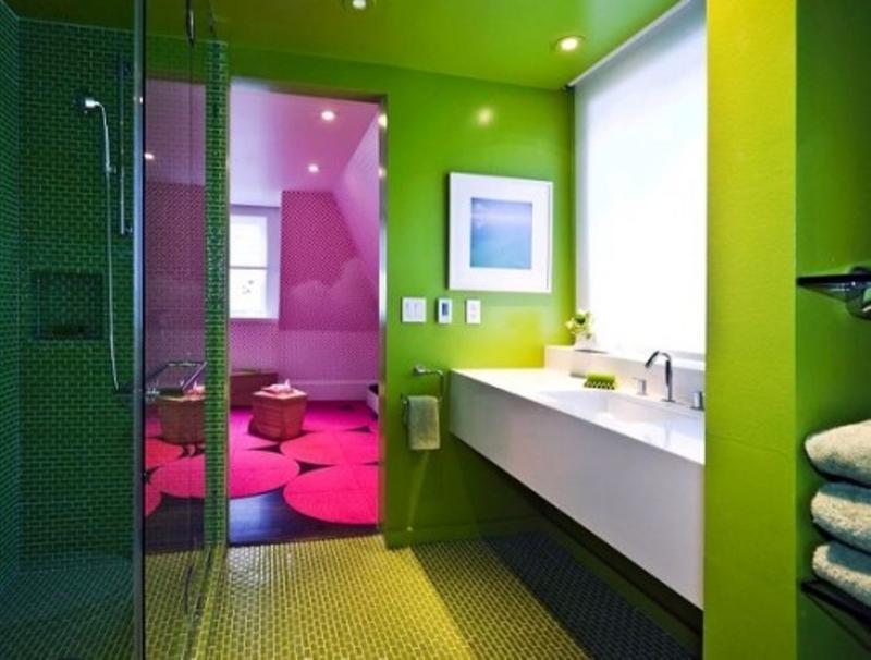 Nice Pink And Green Bathroom