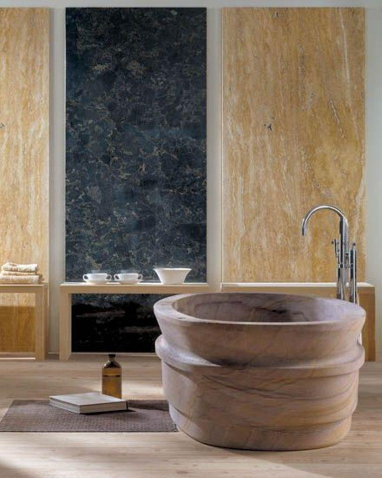 20 amazing bathroom designs with natural stone bathtub for Quirky bathroom designs