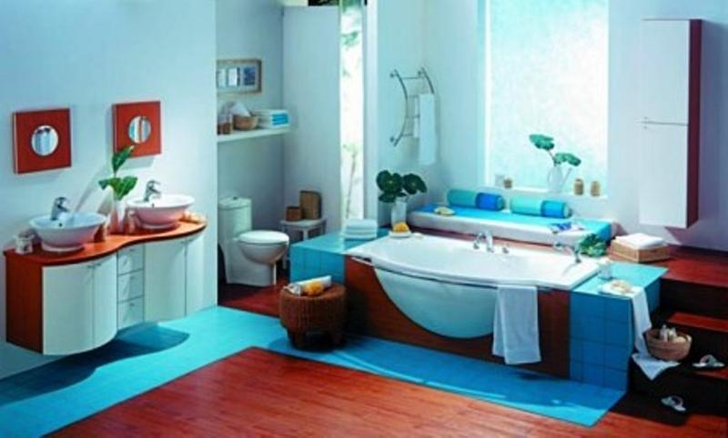Red And Blue Bathroom
