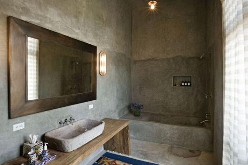 15 bold bathroom designs with concrete walls rilane. Black Bedroom Furniture Sets. Home Design Ideas