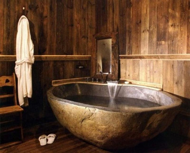 20 Amazing Bathroom Designs with Natural Stone Bathtub - Rilane