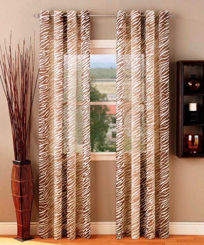 Safari Sheer Grommet Top Brown Sheer Curtains Set On Small Bay Window Part 65