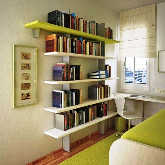 Small Teenage Bedroom With Floating Bookshelf And Green Rug