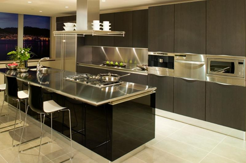 Awesome Modern Kitchen Design Ideas. Stylish Kitchen With Stainless Steel Cabinets Modern  Design Ideas N