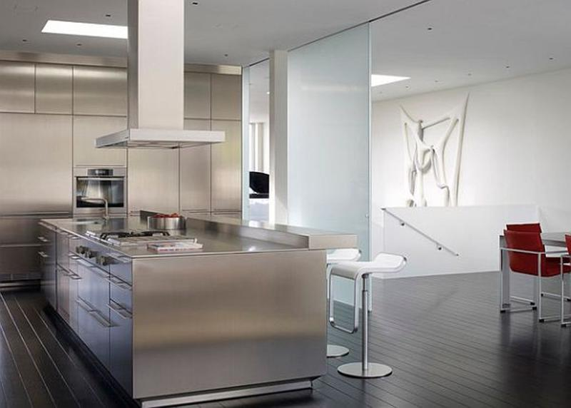 Super Sleek Kitchen With Stainless Steel Cabinets