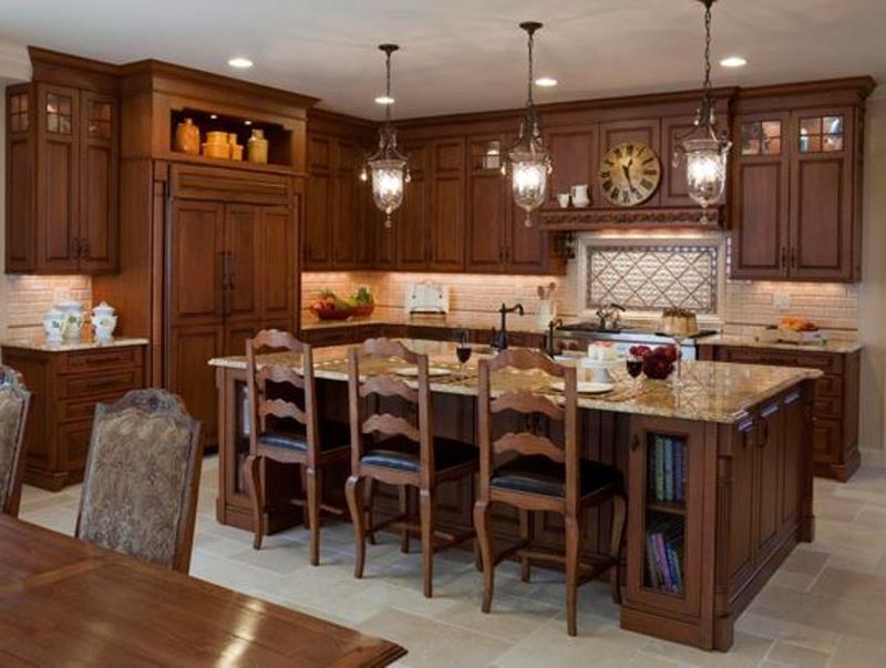 traditional wood kitchen island - Kitchen Island Table Ideas