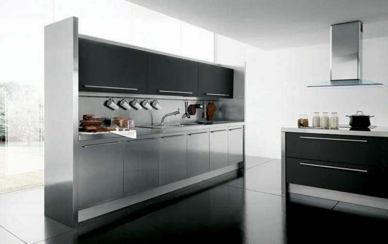 Ultra Modern Kitchen With Stainless Steel Cabinets