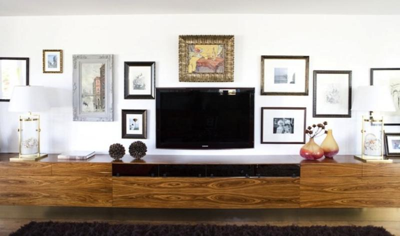 Wide Floating Media Cabinet