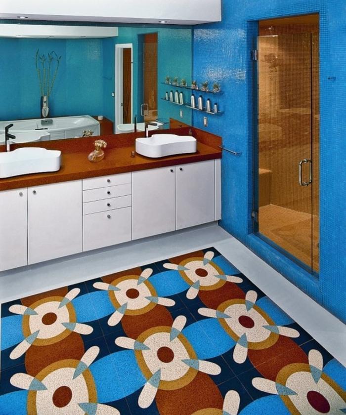 Beautiful Bathroom Design With Multi Color Tiles