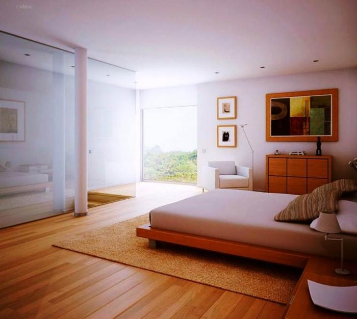 Amazing Airy White Bedroom With Wooden Floors