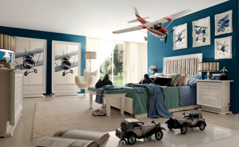 Blue Aviation Themed Bedroom