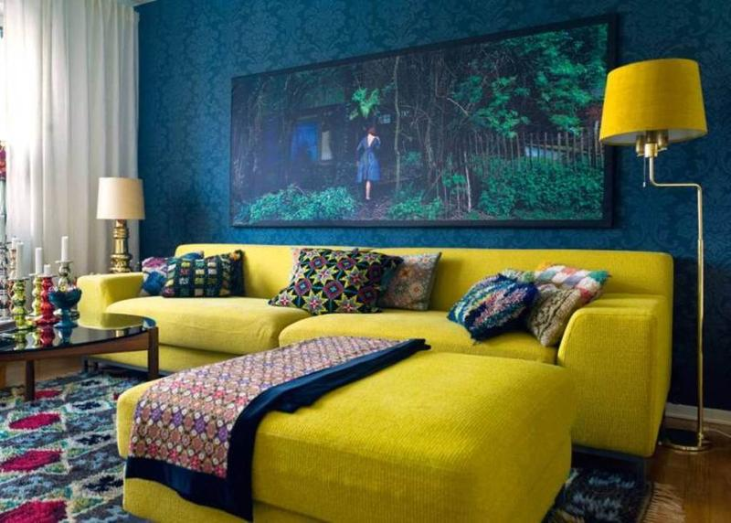 bold blue and yellow living room - Yellow Living Room Decor