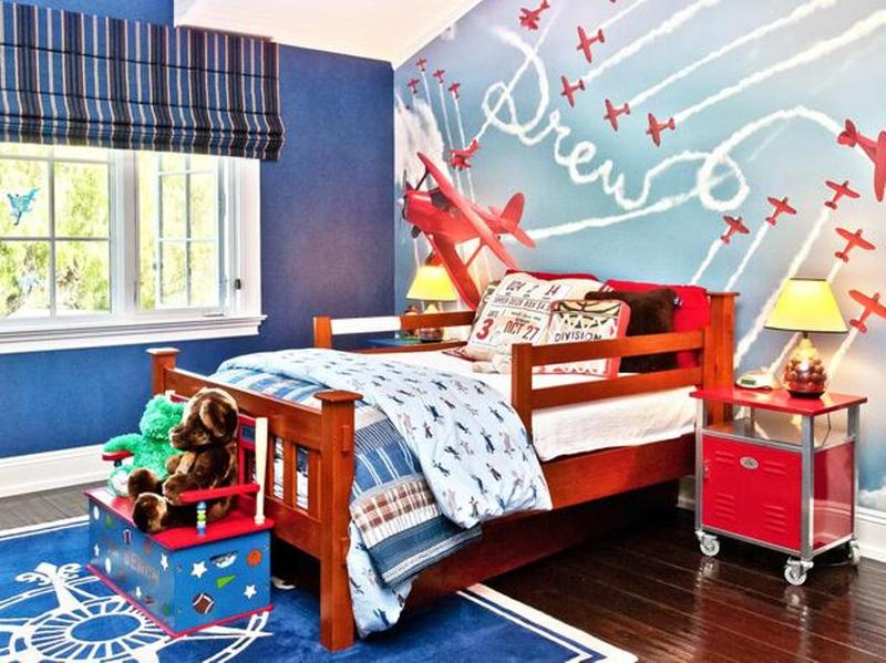 bright airplane themed boys bedroom - Childrens Bedroom Wall Ideas
