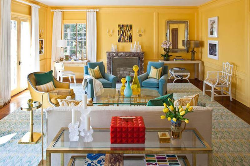 20 charming blue and yellow living room design ideas rilane for Bright wallpaper for living room