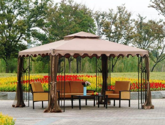 brown curve gazebo canopy with coffee table