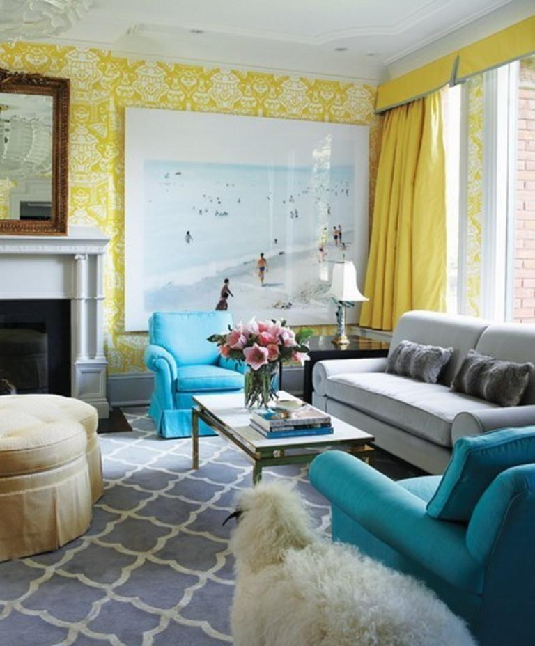 Charming Blue And Yellow Living Room