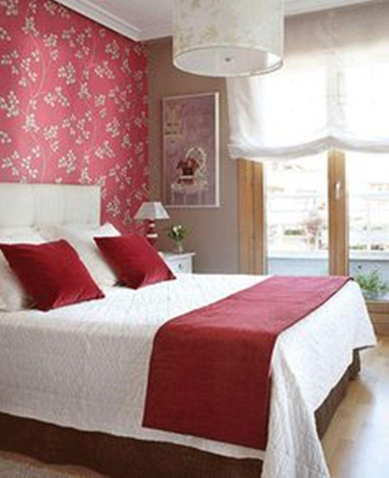 charming design red wall bedrooms | 20 Charming Bedroom Designs With Floral Wallpaper - Rilane