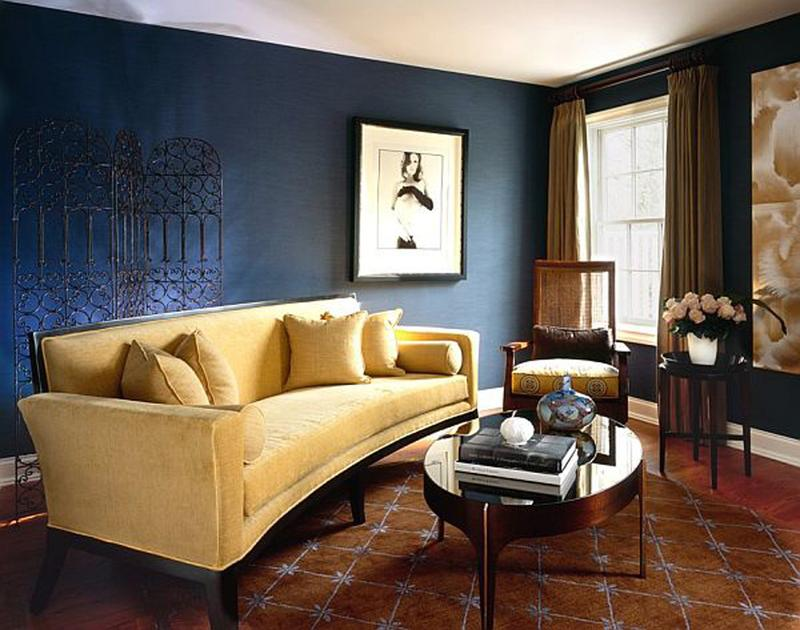 Chic Navy Blue And Yellow Living Room