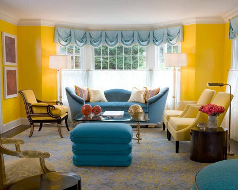 20 charming blue and yellow living room design ideas rilane for Living room yellow color
