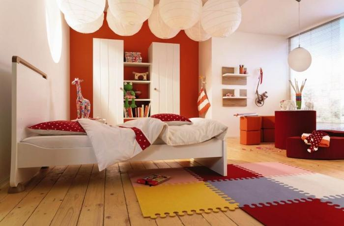 Comfortable Children Bedroom With Special Wooden Floor