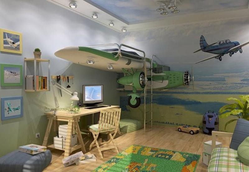 Cool Airplane Themed Boy Bedroom