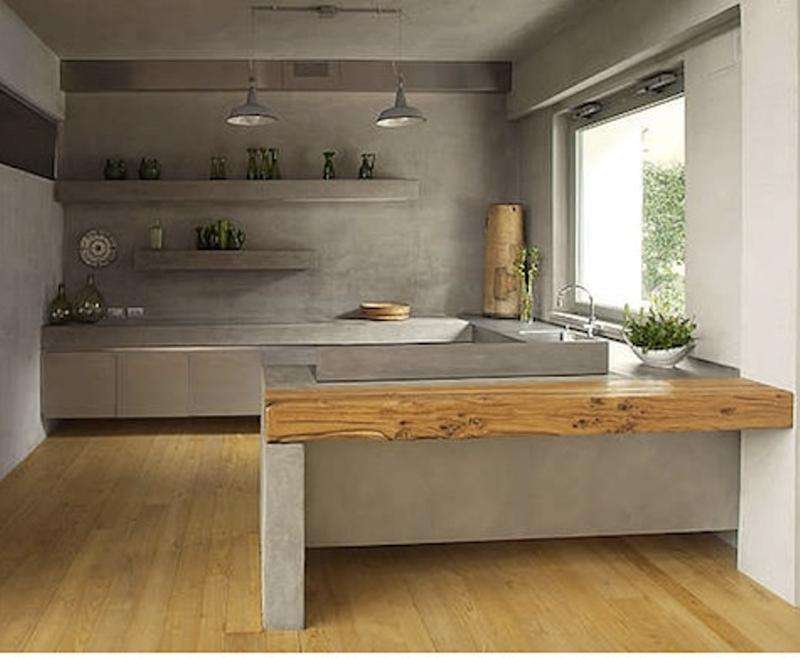 Cozy Kitchen With Concrete Wall. Image Source: Refreshed Design