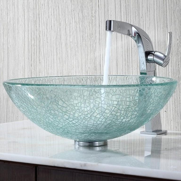 Glass sinks bathroom