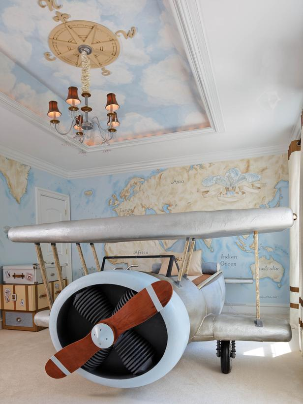 Dramatic Airplane Themed Boy Bedroom