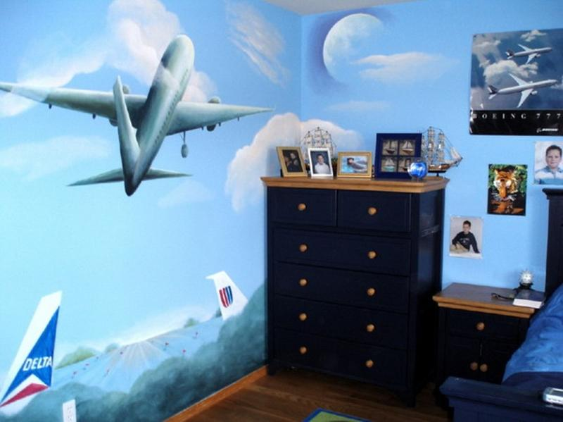 15 cool airplane themed bedroom ideas for boys rilane for Aviation decoration ideas