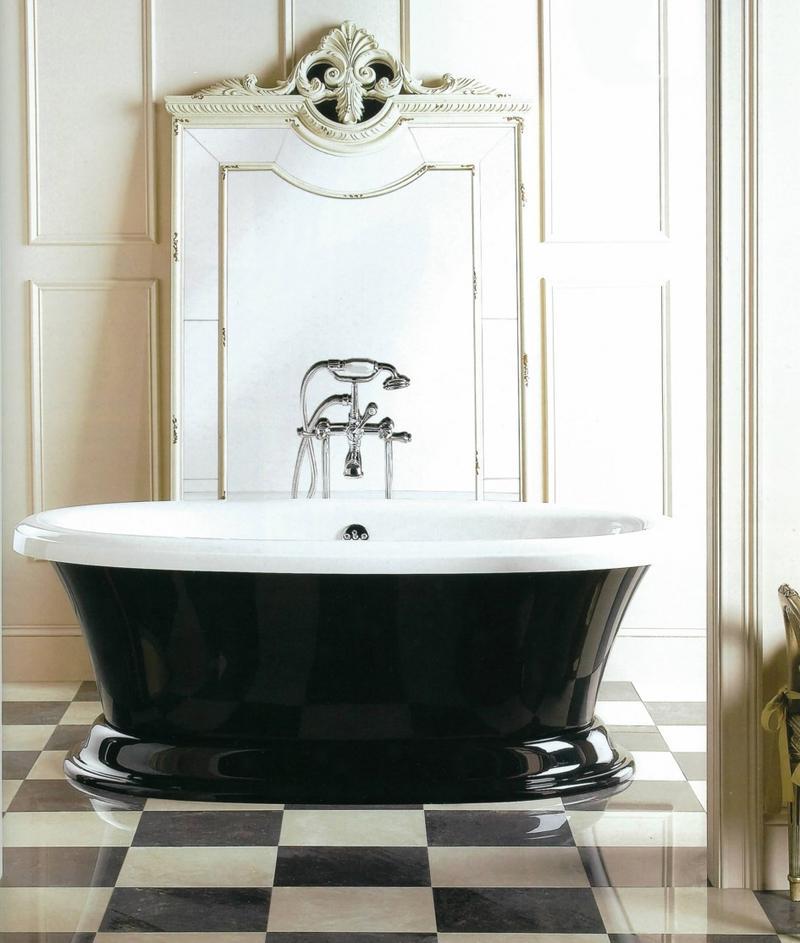 Bathroom Elegant Black White Bathroom Interior With: 20 Dramatic Bathrooms With Black Bathtub