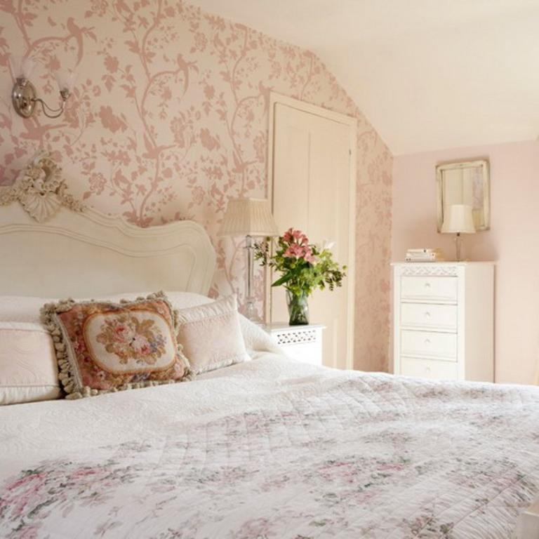Elegant Bedroom With Floral Wallpaper